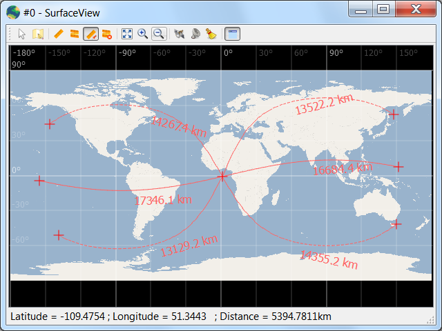 Orthodromic distances from a central point in SurfaceView